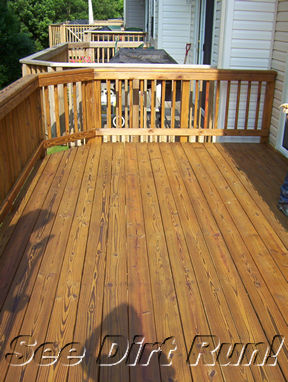 Pressure treated deck washing sealed with honey gold