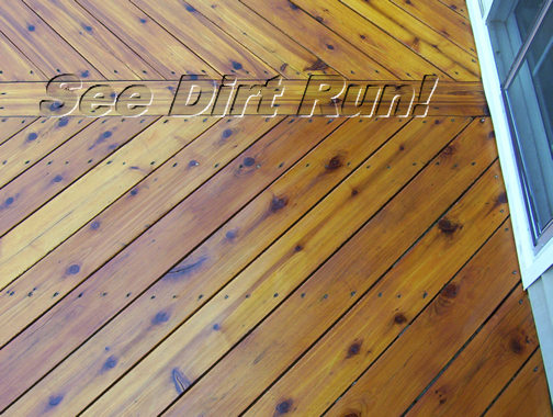 Cedar deck floor washed and sealed - Click me!