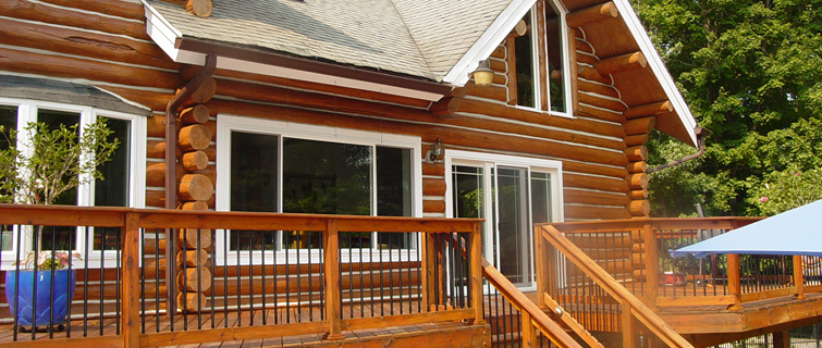 Log home maintenance restoration pressure washing md va for Log home decks