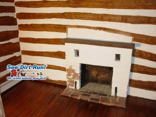 Interior Log home chinking